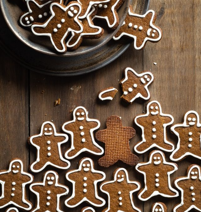 Holiday gingerbread men cookies on a table