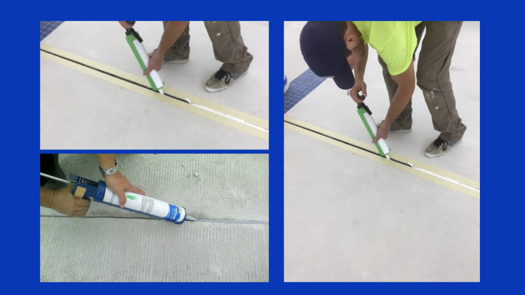Pictures of joint sealant work being performed.